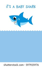 it is a baby shark baby arrival card vector