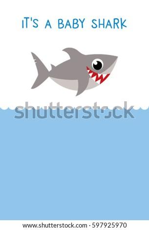 Baby Shark Baby Arrival Card Vector Stock Vector Royalty Free