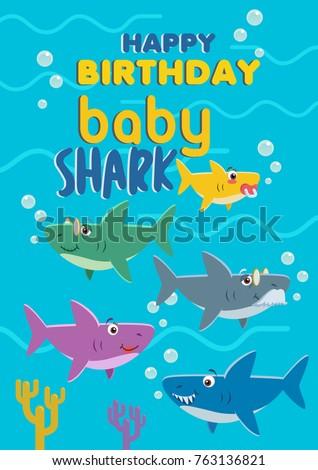 Baby Shark Birthday Card Vector Stock Stock Vector Royalty Free