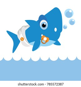 Baby shark. cartoon fish with bubble. colorful shark character isolated on light background. Young shark.