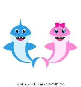 baby shark girl boy greeting card vector