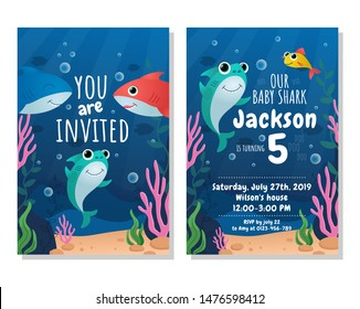 Baby shark party invitation card. Kids birthday party vector illustration. Joyful invitation to birthday of little child in marine underwater design flat style concept
