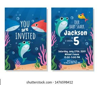 Baby shark party invitation card. Kids birthday party vector illustration. Joyful invitation to birthday of little child in marine underwater design flat style concept