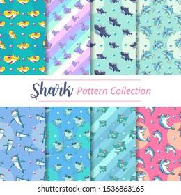 baby shark pattern set graphic design