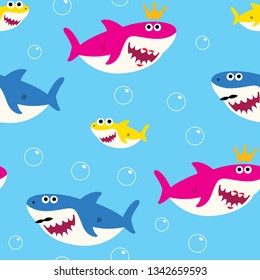 Baby Shark Seamless Pattern Vector Drawing Cute for Kids blue background