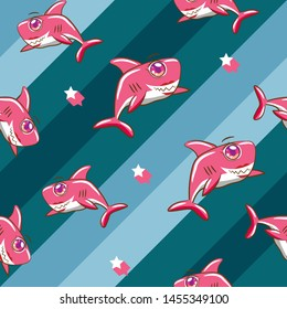 baby shark vector pattern graphic design