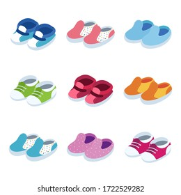 Baby shoes vector isometric icons set isolated on a white background.