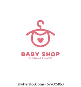 Baby shop logo template design with a hanger. Vector illustration.