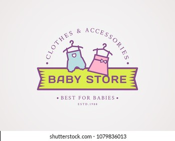 Baby shop logo. Vector symbol with children's clothes - pink dress for girl and blue jumpsuit for boy. Cute design isolated on white background.