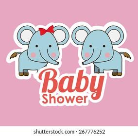 Baby Showe design over pink background, vector illustration