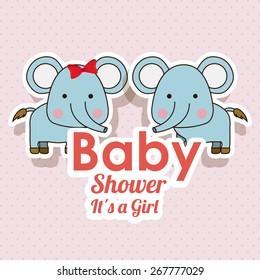 Baby Showe design over pointed background, vector illustration
