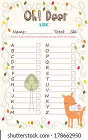 Baby Shower Alphabet Game Oh Deer