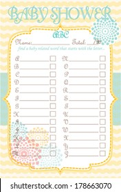 Baby Shower Alphabet Game Soft Waves