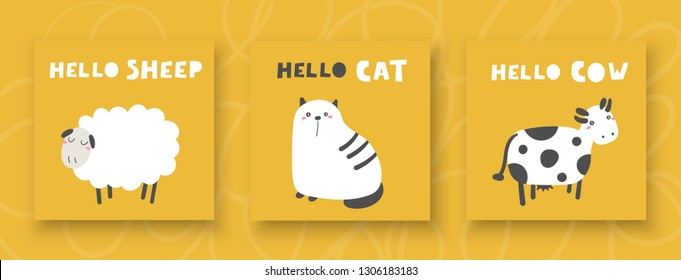 Baby shower animals set including cat, sheep, cow. Cute cards, postcards with nursery characters for kids