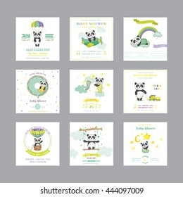 Baby Shower and Arrival Card. Cute Panda Animal. Vector Set.