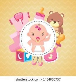 baby shower badge cute girl and toys vector illustration