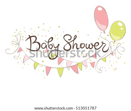 Baby Shower Banner Girl Funny Vector Stock Vector Royalty Free