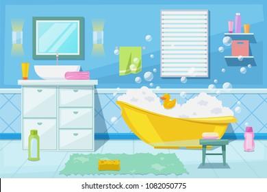 Baby shower and bath room interior, vector cartoon illustration. Bathroom furniture, hygiene goods and other bathtub design elements for newborn.