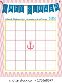 Bingo Game Template | Baby Shower Invitation Template Sailor Coral Stock Vector Royalty