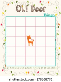 Baby Shower Bingo Game Template Oh Deer