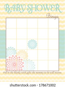 Baby Shower Bingo Game Template Soft Waves