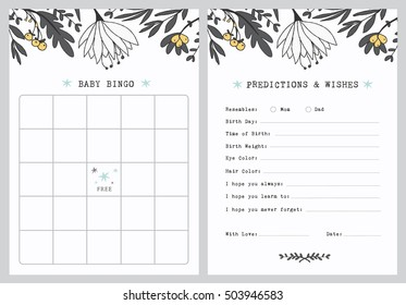 Baby Shower Bingo Game Template, Predictions and Wishes, Dear baby card. Grey and White Flowers. Gender Neutral.