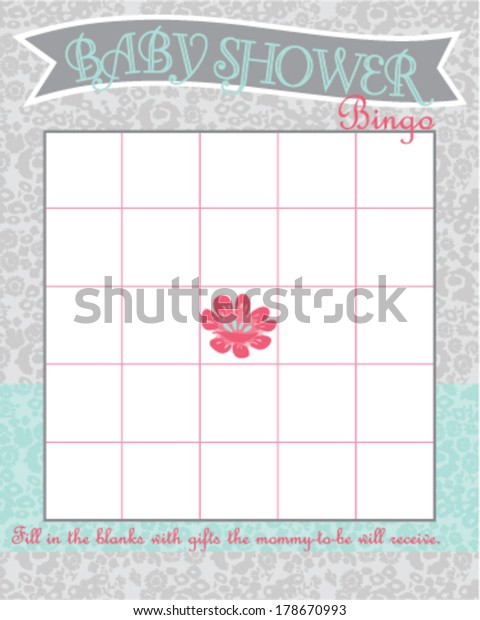 Baby Shower Bingo Game Template Country Stock Vector