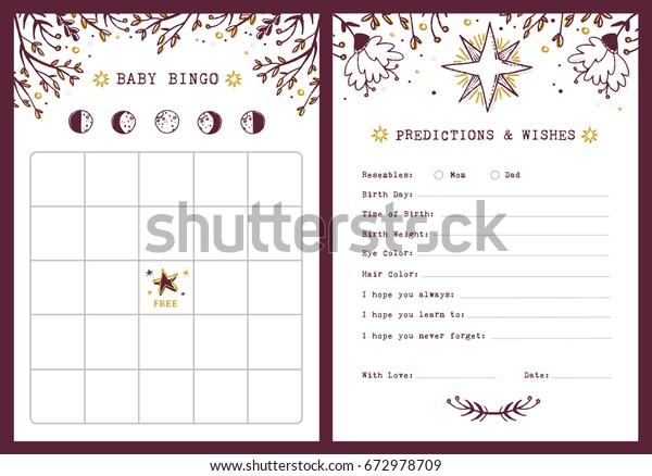 стоковая векторная графика Baby Shower Bingo Template