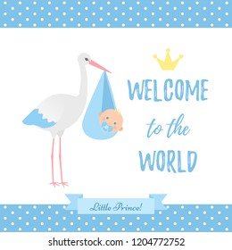 Baby Shower boy card. Vector. Baby boy birth party poster with stork, newborn kid, polka dot pattern. Sweet blue banner in flat design. Cute template invite background. Colorful cartoon illustration.