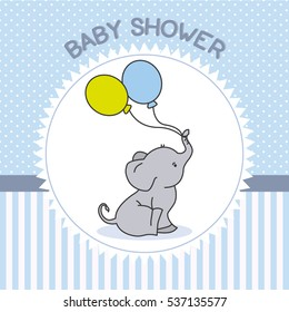 Lovely Baby Shower Boy. Elephant With Balloons