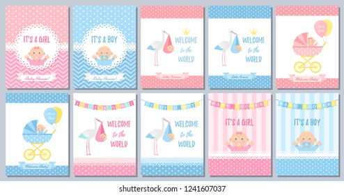 Baby Shower boy girl card. Vector. Baby girl boy design. Cute pink blue poster. Birth party background. Set welcome template invites. Happy greeting decoration banner. Cartoon illustration.