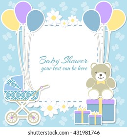 Baby Shower Boy, Invitation Card. Place For Text. Greeting Cards. Vector  Illustration