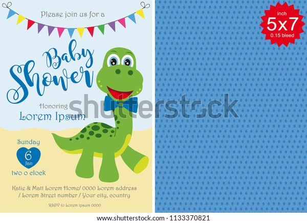 graphic regarding Free Printable Dinosaur Baby Shower Invitations named Boy or girl Shower Boy Invitation Template Youngster Inventory Vector