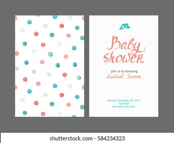 Baby shower boy invitations, vector templates. Pastel cards with watercolor dots and hand drawn text on light background.