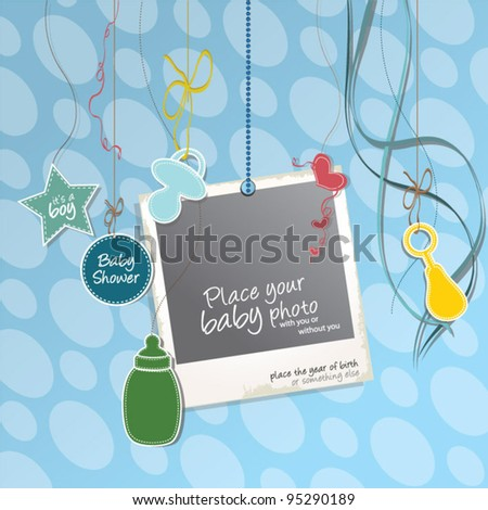 Baby Shower Boy Sweet Baby Card Stock Vector Royalty Free 95290189