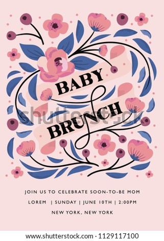 Baby Shower Brunch Invitation Baby Shower Stock Vector Royalty Free