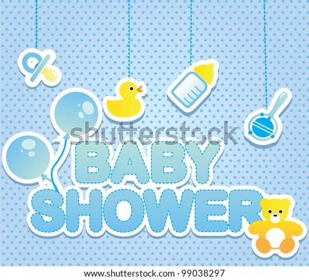 Baby Shower Card Boy Stock Vector Royalty Free 99038297 Shutterstock