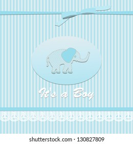 baby shower card for baby boy, with elephant.Vector eps10 , illustration.