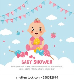 Baby shower card. A cute baby in a cloud. Girl announcement card template. Place for your text.