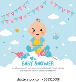 Baby shower card. A cute baby in a cloud. Boy announcement card template. Place for your text.