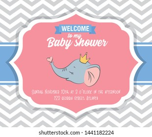 baby shower card with cute baby elephant with crown and heart vector illustration