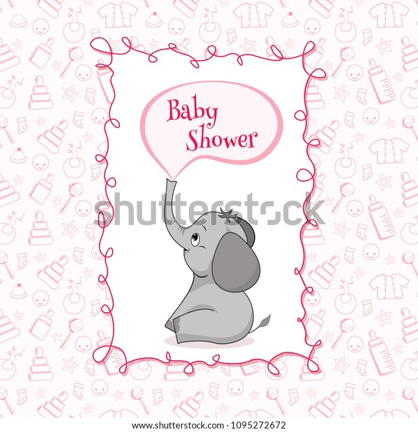Baby Shower Card Cute Baby Elephant Stock Vector Royalty Free