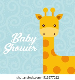 baby shower card with cute giraffe icon. colorful design. vector illustration