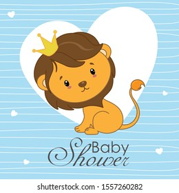 Baby shower card. Cute lion with blue background with hearts