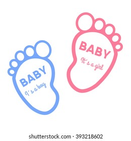 Baby shower card with baby foot prints, vector illustration