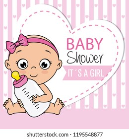 baby shower card. Baby girl with bottle