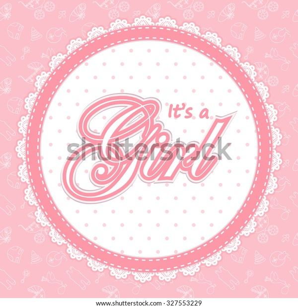 Baby Shower Card Girl Baby Shower Stock Vector Royalty Free