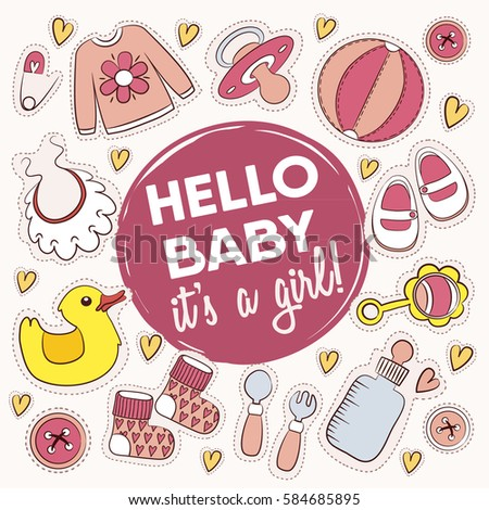 Baby Shower Card Greeting Card Phrase Stock Vector Royalty Free