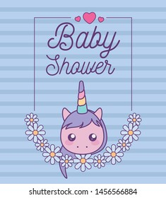 baby shower card with head of cute unicorn