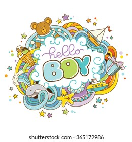 Baby shower card (Hello Boy)